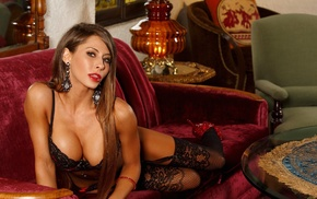 big boobs, girl, stockings, lingerie, Madison Ivy, couch