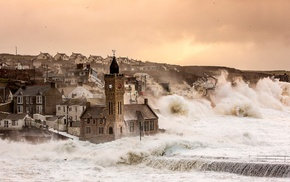 England, church, UK, storm, town, sea