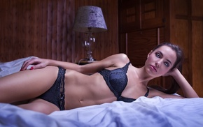 model, lamp, in bed, bed, girl, lingerie