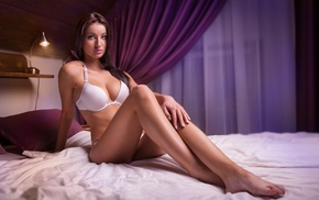 sitting, bra, in bed, girl, model