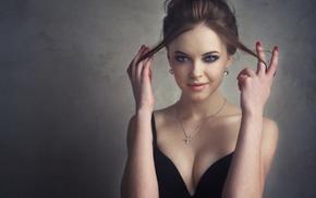 girl, cleavage, Libriana, blue eyes, brunette, smirk