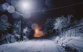night, road, ice, seasons, snow, winter
