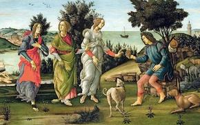 classic art, painting, coast, animals, ship, Greek mythology