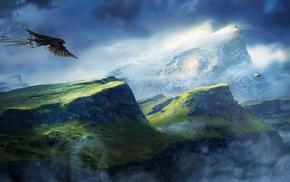 Zeppelin, sky, mountains, eagle, bird of prey, clouds