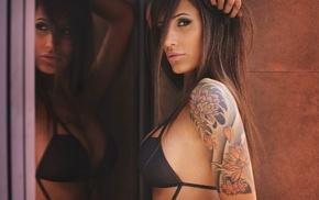 reflection, side view, sideboob, black bras, girl, brunette