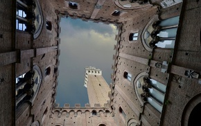 ancient, castle, window, clouds, worms eye view, sky