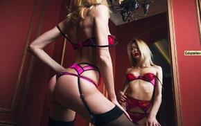 blonde, stockings, girl, ass, model, lingerie
