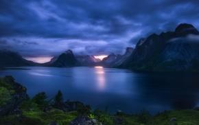 blue, nature, landscape, mountains, Norway, Lofoten