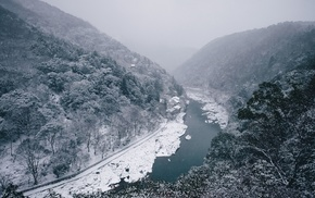 nature, river, snow, landscape, mist, Japan