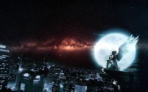 night, city, stars, angel, Moon