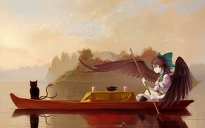 cat, Touhou, Kaenbyou Rin, wings, Reiuji Utsuho, tea