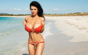 girl, bikini, big boobs, model, Denise Milani, beach