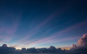 sky, landscape, blue, evening, clouds