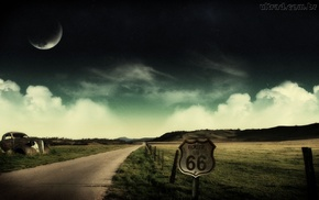 artwork, road, landscape, Moon, digital art