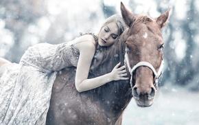horse, animals, model, girl