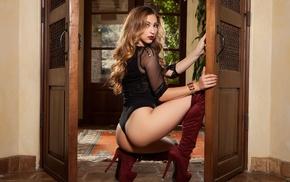 boots, girl, ass, model, door, kneeling