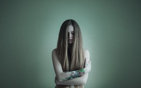 strategic covering, bare shoulders, tattoo, blonde, portrait, closed eyes