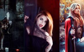 model, girl, collage, fantasy art