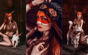 collage, girl, fantasy girl, model, animals, redhead