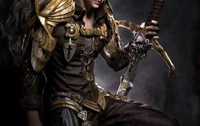 armor, fantasy art, knight, grey hair, sword