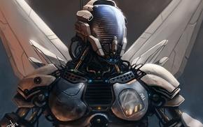 futuristic, cyborg, robot, fantasy art