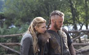 Vikings TV series, Lagertha Lothbrok, couple, rural, Ragnar Lodbrok