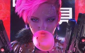 face, cyberpunk, Maciej Kuciara, fantasy art