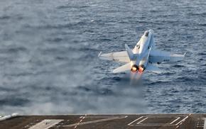 aircraft, aircraft carrier, military aircraft, McDonnell Douglas FA, 18 Hornet, take