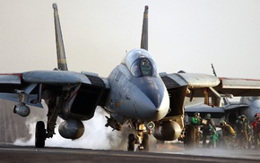 Grumman F, 14 Tomcat, military aircraft, United States Navy, aircraft carrier, aircraft