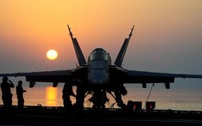 sunset, aircraft, aircraft carrier, military aircraft, McDonnell Douglas FA, 18 Hornet