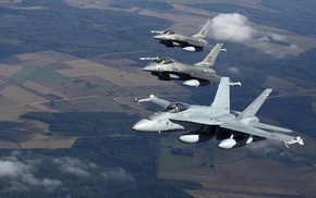 aircraft, McDonnell Douglas FA, 18 Hornet, General Dynamics F, 16 Fighting Falcon, military aircraft