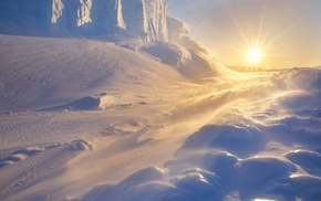 Sun, ice, Arctic, nature, landscape, snow