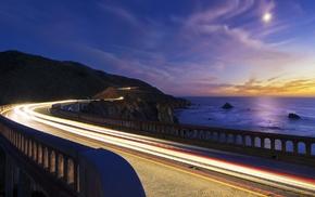 landscape, dusk, bridge, evening, road, nature