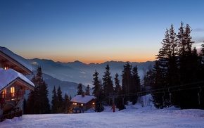 nature, photography, ski lifts, dusk, house, trees