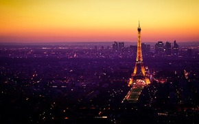 night, Paris, Eiffel Tower, France, landscape