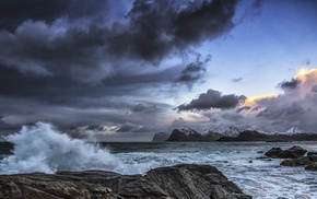 landscape, clouds, sea, waves, nature