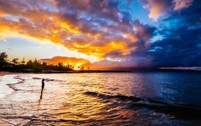 beach, clouds, sunset, nature, waves, sea