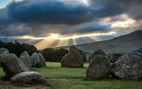 trees, nature, stone circle, clouds, stones, Lake District