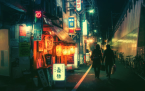 Japanese, backstreet, bicycle, neon, kanji, lantern