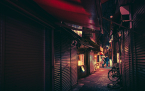 neon, Tokyo, Japanese, bicycle