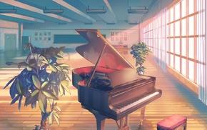 classroom, piano, anime