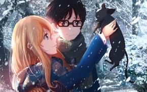 cat, anime girls, manga, anime, snow, Miyazono Kaori