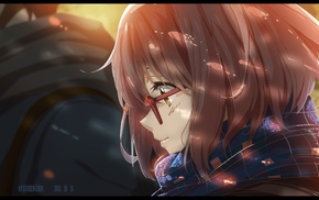 glasses, scarf, Kyoukai no Kanata, Kuriyama Mirai, anime, anime girls