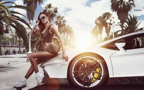 sneakers, girl, T, shirt, girl with cars, sunglasses