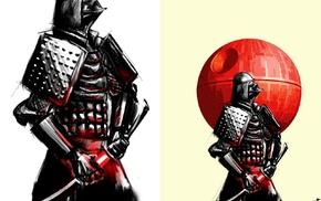 Star Wars, Death Star, sword, collage, samurai, artwork