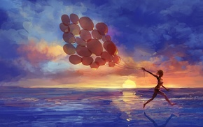 girl, digital art, clouds, running, balloon, bikini
