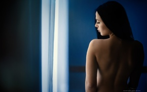 girl, brunette, back, nude, looking away, black hair