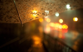 urban, umbrella, depth of field, night, photography, lights