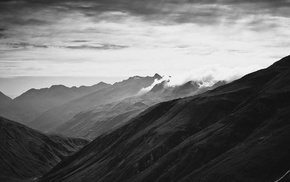 landscape, mountains, monochrome, photography, mist, nature