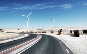 landscape, sand, nature, photography, road, wind turbine